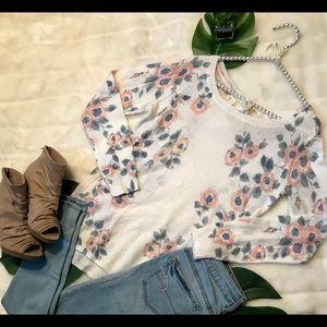 Lauren Conrad delicate ivory floral sweater